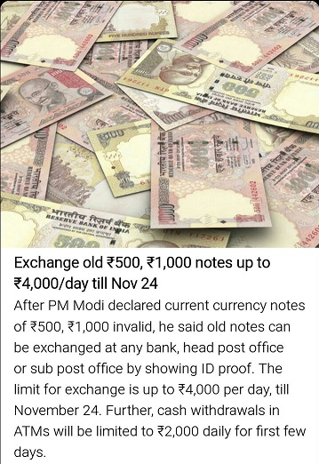 Narendra Modi on 500 and 1000 Notes